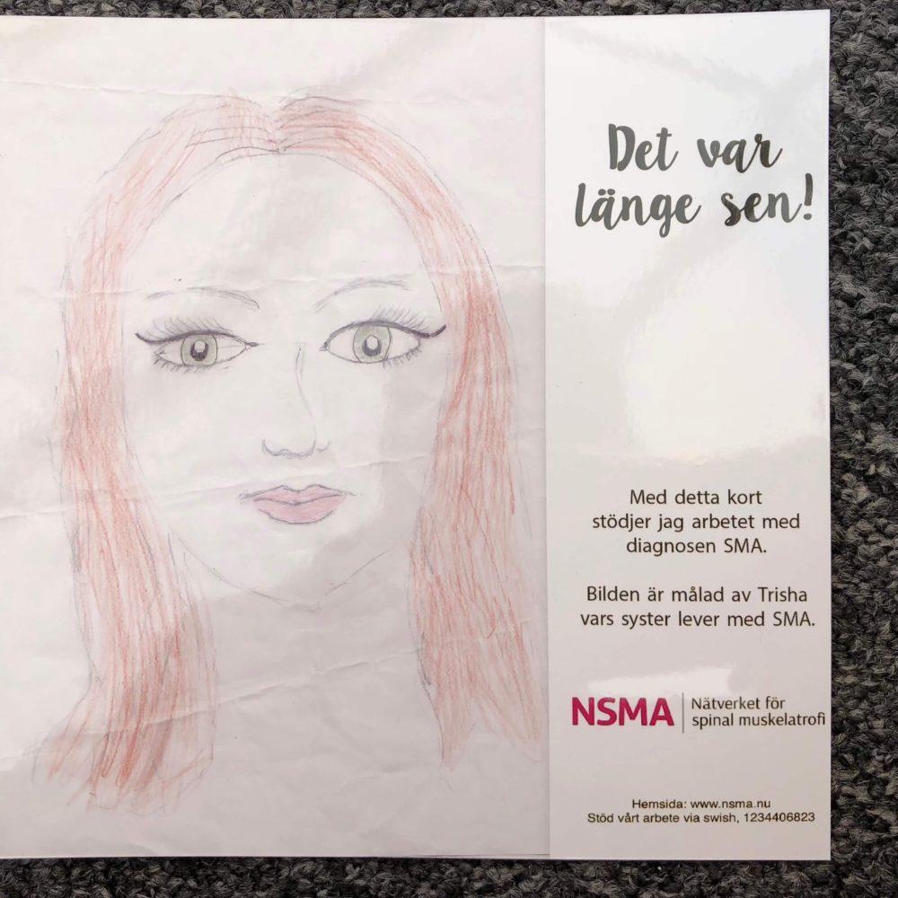 """Ett kort skapat av våra unga konstnärer, med texten """"Det var längesen"""". Motivet är en flicka med långt hår."""
