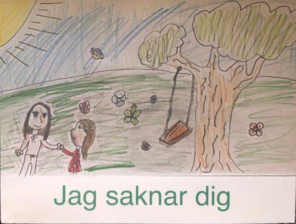 """Ett kort skapat av våra unga konstnärer, med texten """"Jag saknar dig"""". Motivet är två flickor som håller handen på en fin äng ute i naturen."""